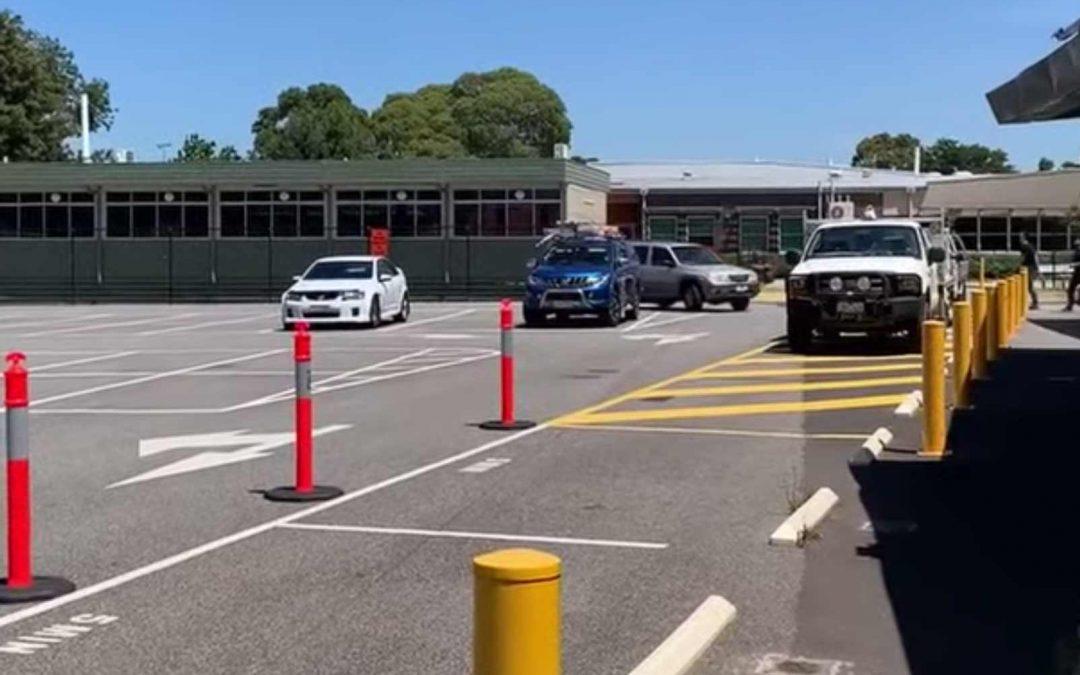Drop off/pick up lane setup in the PSC Carpark